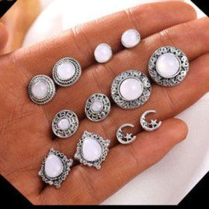 Jewelry - Set of 6 Silver Celestial White Gem Earrings